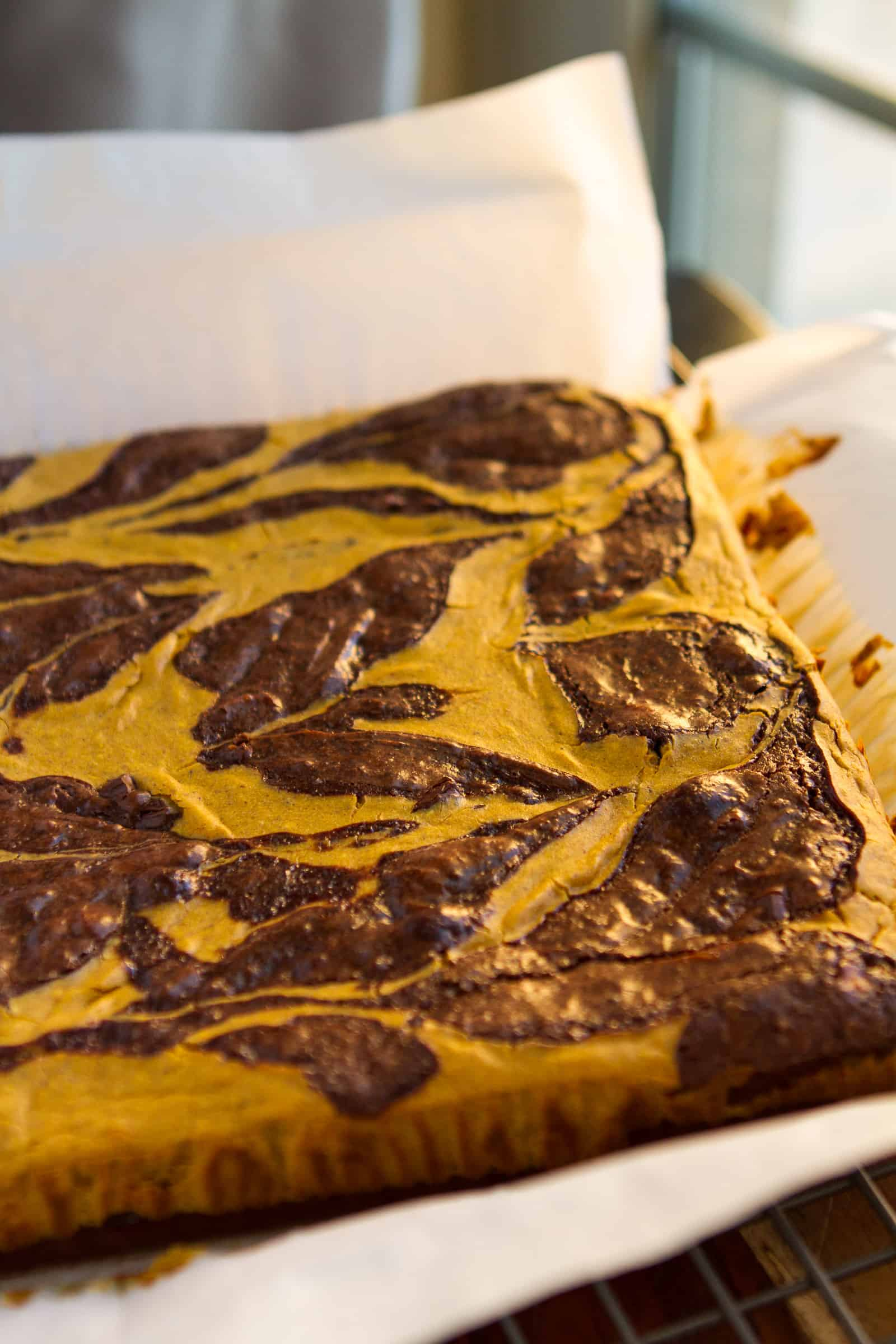 Pumpkin Swirl Brownies -- a pumpkin cheesecake mixture swirled into a rich and fudgy brownies batter makes these amazing brownies extra decadent... You'll definitely want a tall glass of milk with them! | via @unsophisticook on unsophisticook.com