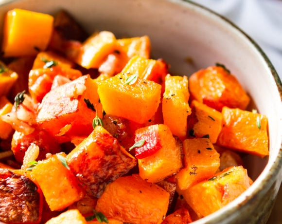 3-ingredient roasted butternut squash recipe in a handmade bowl