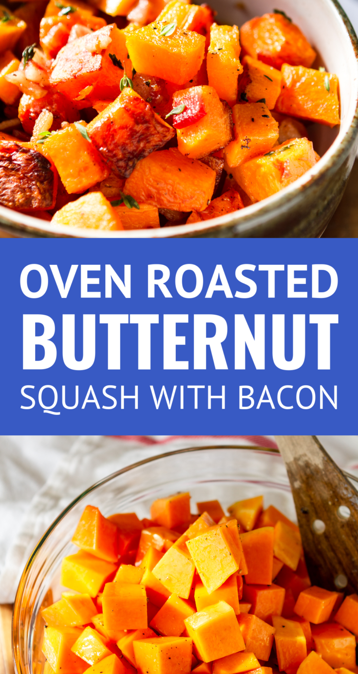 Oven Roasted Butternut Squash With Bacon -- This roasted butternut squash recipe is crazy easy to make. 3 ingredients never tasted so good -- just thick cut bacon, butternut squash cubes, and fresh thyme. The perfect paleo side dish or weeknight sheet pan meal, TOTAL winner! | baked butternut squash | baked butternut squash cubes | healthy roasted butternut squash | easy roasted butternut squash | roasted butternut squash paleo #keto #paleo #bacon #easyrecipe #whole30 #thanksgiving #sidedishes