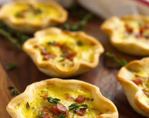 Ham & Cheese Mini Quiche Recipe | Pie Scraps + Mason Jar Lids Idea