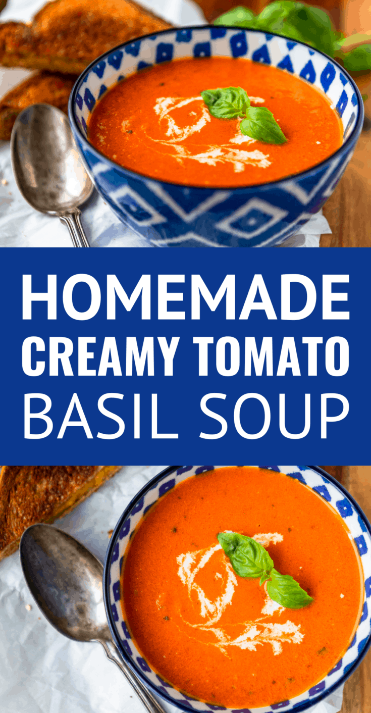 Creamy Tomato Basil Soup -- this homemade tomato basil soup recipe is a total copycat of my favorite soup at First Watch! Ready to serve in under 30 minutes and just perfect paired with a hot and melty classic grilled cheese sandwich... | creamy tomato soup | tomato soup easy | tomato soup recipe | easy tomato basil soup | best tomato basil soup #tomatosoup #tomatobasil #tomatobasilsoup #tomatobasilbisque #soup #souprecipes #souprecipeseasy #soupinspiration #easyrecipe