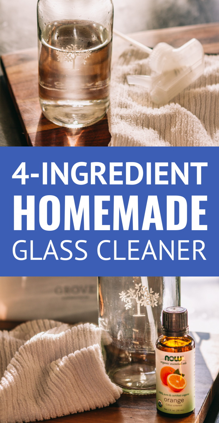 The BEST Homemade Glass Cleaner (4 Ingredients) -- truly the best dang homemade window cleaner you will try... This DIY glass cleaner is easy, streak free & non-toxic, AND it's just 4 ingredients! | glass cleaner recipe | cleaning ideas | cleaning products | cleaning hacks | cleaning tips | essential oil recipes #cleaning #cleaningtips #essentialoils