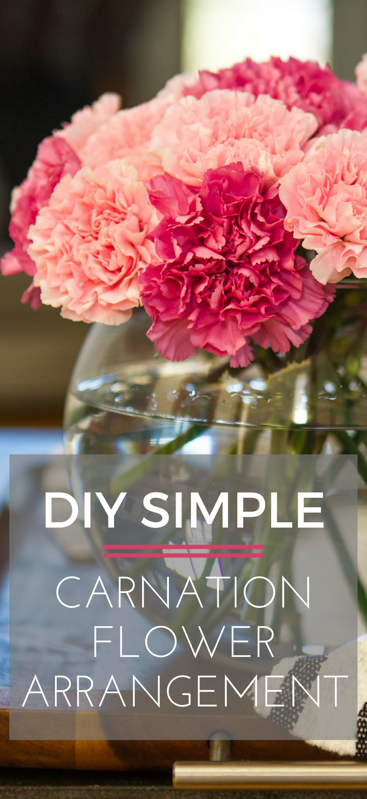 Simple Carnation Flower Arrangement -- this stunning DIY carnation flower arrangement requires only a pair of floral shears, a bubble vase, and about 5 minutes of time to create… It's nearly effortless and can last up to two weeks! | via @unsophisticook on unsophisticook.com