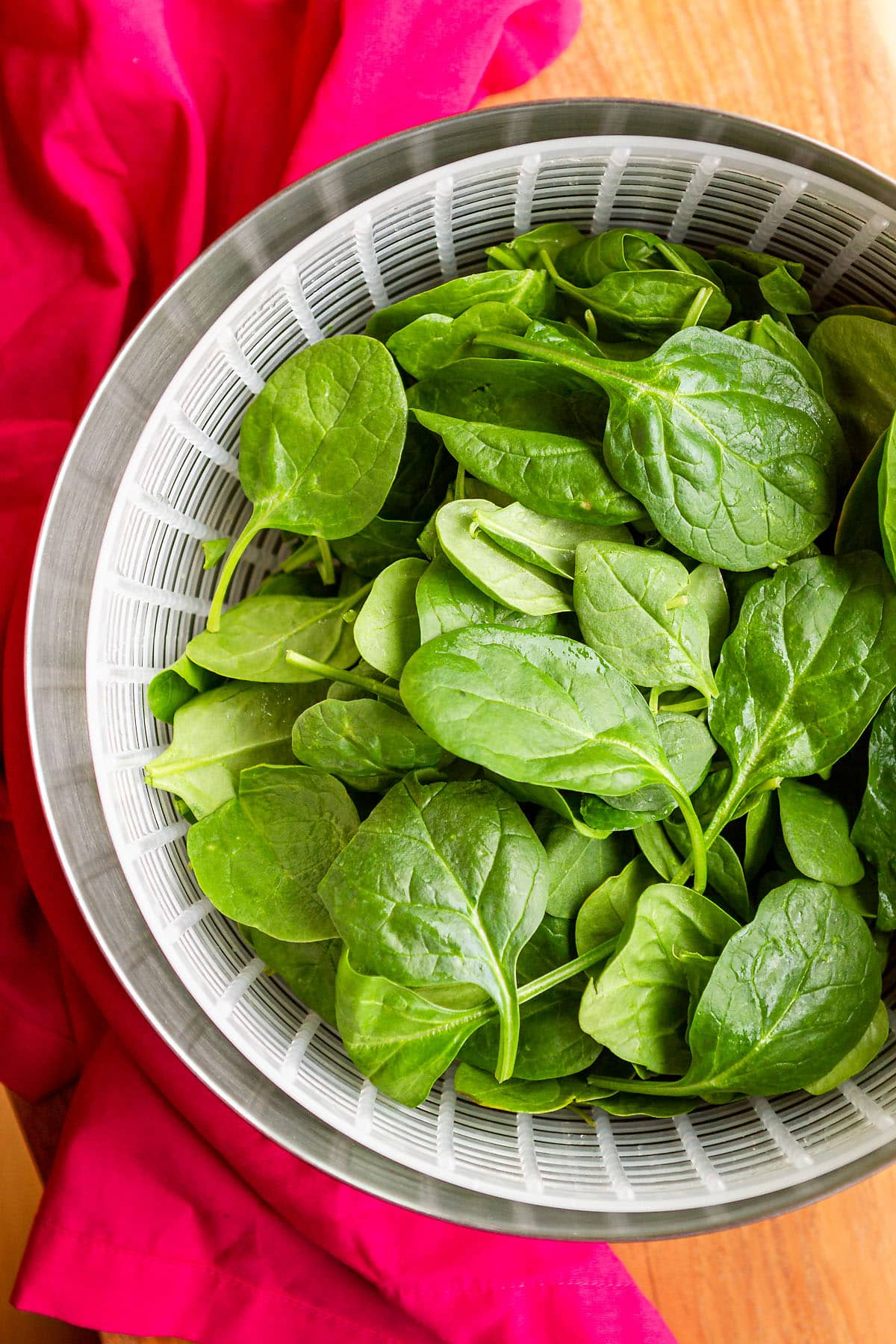 can you freeze spinach in a salad spinner