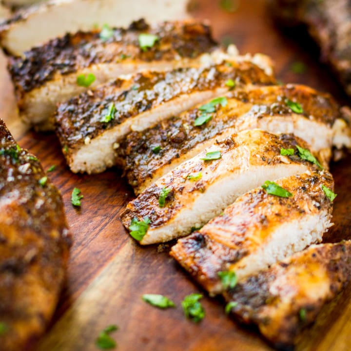 sliced grilled chicken breasts made with 30 minute chicken marinade