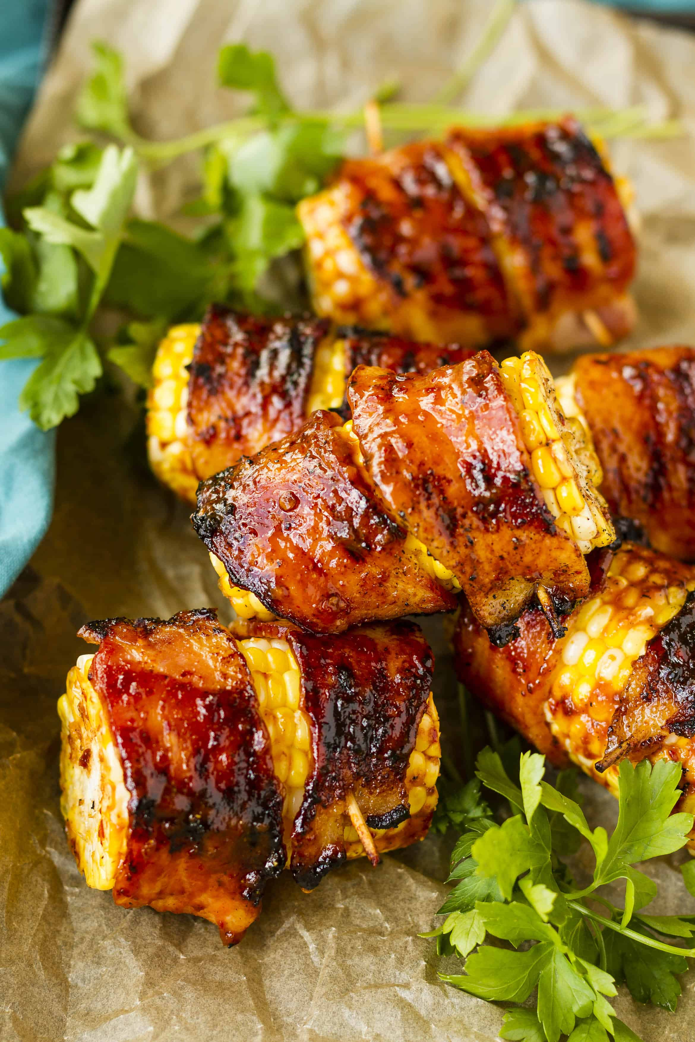 Sweet & Spicy Bacon Wrapped Corn on the Cob | Unsophisticook