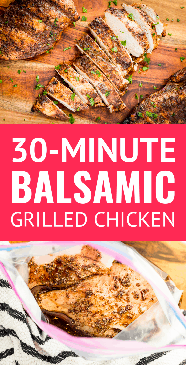 30-Minute Juicy Balsamic Grilled Chicken Marinade -- this healthy grilled balsamic chicken breast recipe makes the most juicy & succulent boneless skinless chicken EVER w/ just 4 ingredients + 10 minutes of marinating time! AND it's paleo & Whole30 compliant. | balsamic chicken marinade | balsamic vinegar chicken marinade | whole30 chicken breast recipes | whole30 chicken marinade | whole30 marinade  #whole30chicken #grilledchicken #grilledchickenrecipes #paleochicken #chickenmarinade