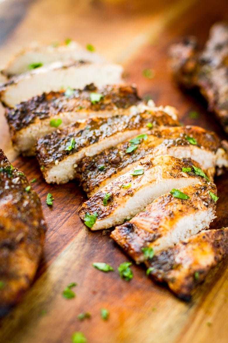 juicy balsamic grilled chicken sliced