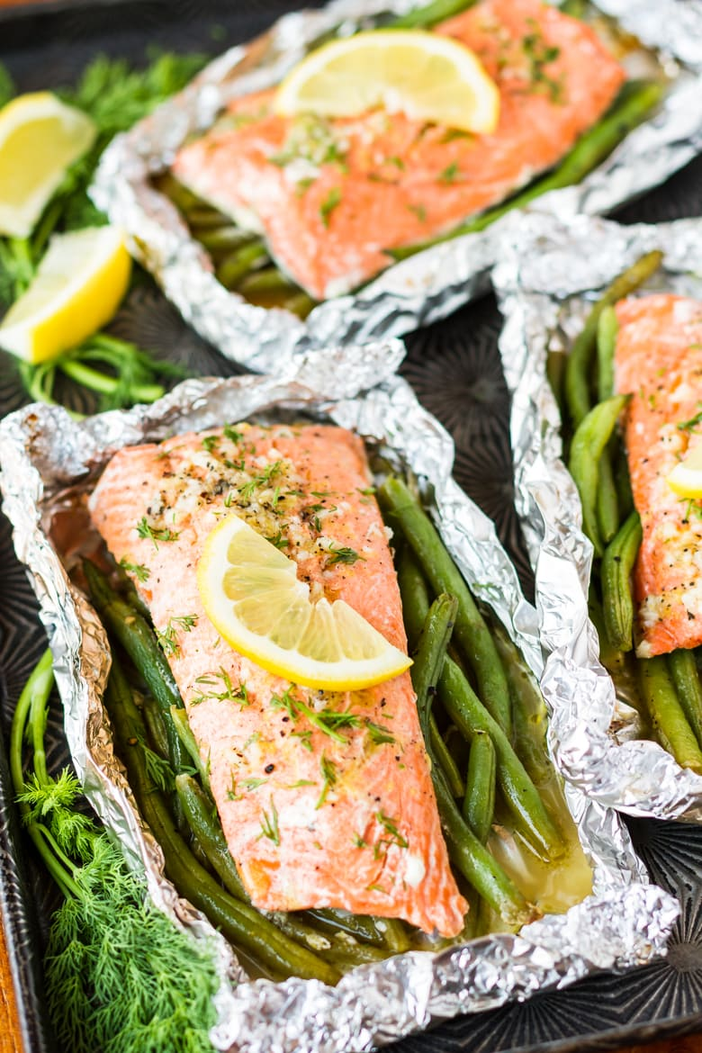 easy grilled salmon in foil recipe is a protein and side in one