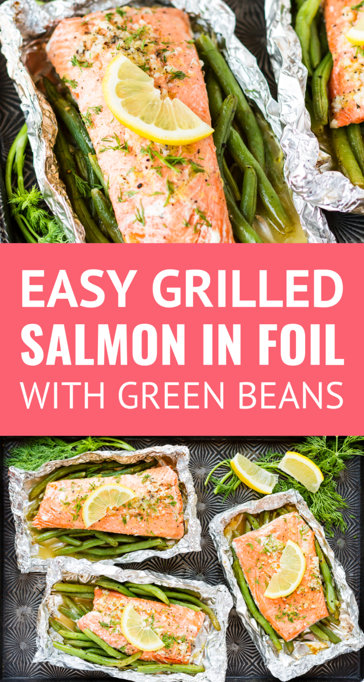 Grilled Salmon In Foil -- this simple salmon in foil recipe is packed with lemony garlic butter flavor! Adding green beans to the packet means you have have a healthy protein and side dish on the table in under 30 minutes… | grilling salmon in tin foil | salmon on the grill | salmon foil packets | easy salmon in foil | garlic butter salmon in foil | salmon in foil with green beans #salmonrecipes #grilling #salmon #greenbeans #grill #lemonbutter