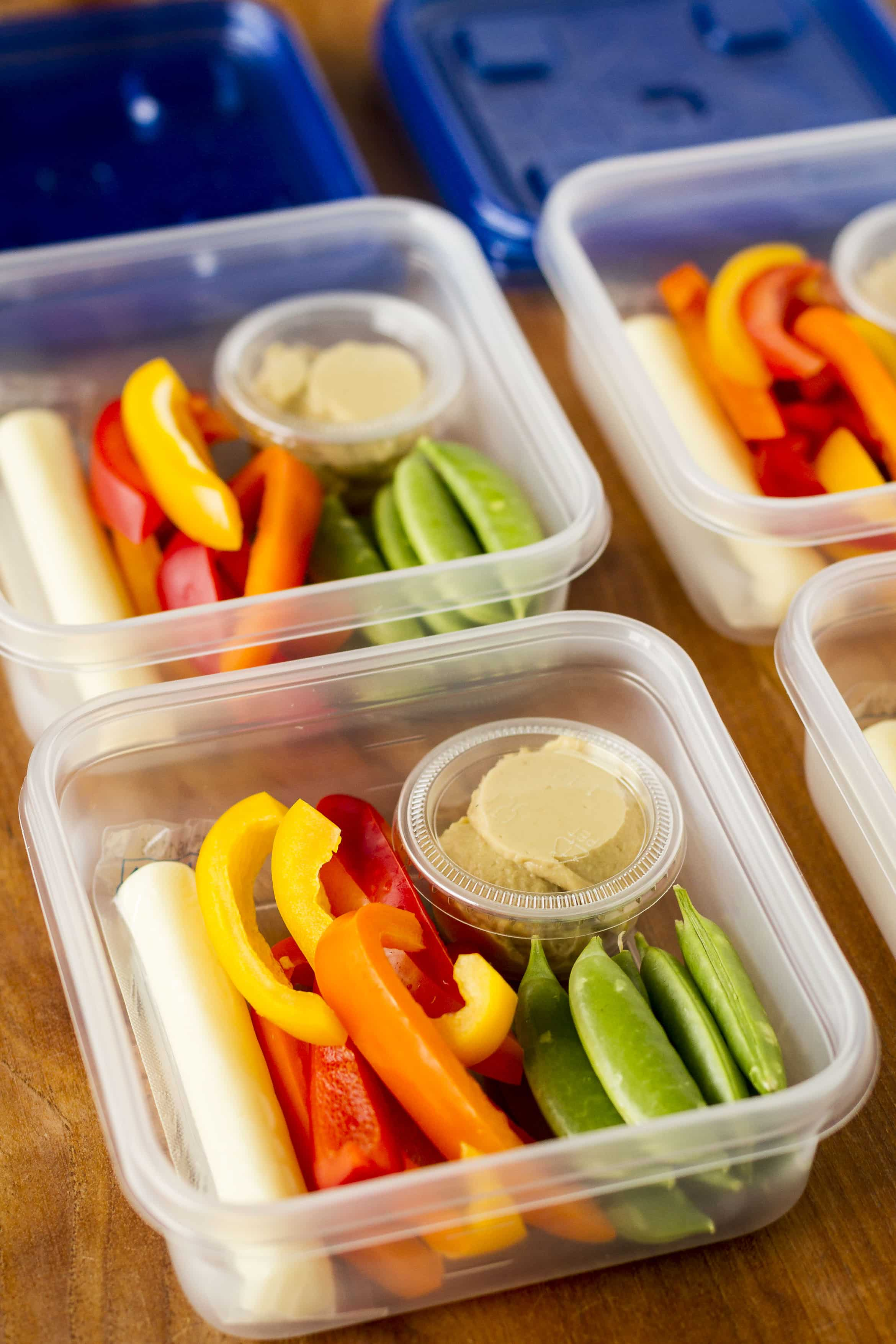 simple veggies & hummus snack idea for meal prep