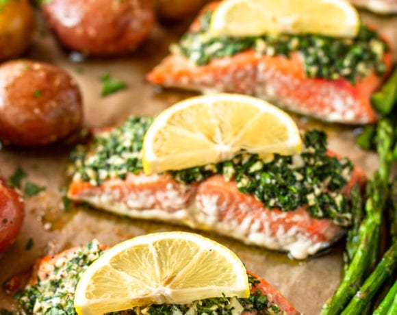 parsley and garlic butter oven baked salmon recipe with asparagus and potatoes