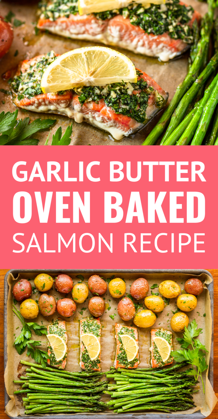 Oven Baked Salmon with Asparagus and Potatoes -- this parsley and garlic-rubbed oven baked salmon recipe is sure to become your new favorite... Makes a main dish + 2 sides with just one pan to clean up! | salmon and asparagus | baked salmon and asparagus | salmon and asparagus recipe | one pan salmon and asparagus | how long to bake salmon in oven #salmonrecipes #bakedsalmon #salmon #asparagus