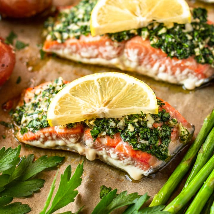 Parsley & Garlic-Rubbed Oven Baked Salmon with Asparagus and Potatoes
