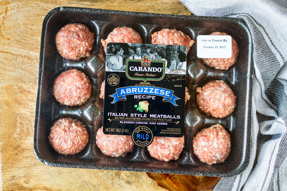 carando meatballs casserole using carando Abruzzese meatballs shown in their packaging