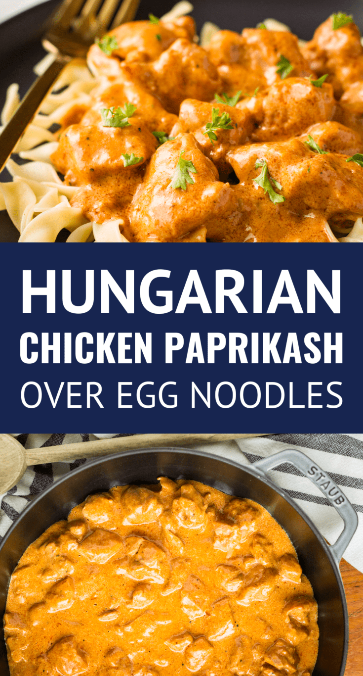Easy Hungarian Chicken Paprikash -- an easy Hungarian chicken paprikash recipe using traditional Hungarian sweet paprika... Also known as Chicken Paprikas or Csirkepaprikás, this simple spicy & creamy chicken recipe served over broad egg noodles boasts big flavor! | easy chicken paprikash | chicken paprikash with egg noodles #chickenpaprikash #hungarian #hungarianfood #hungarianrecipes #easyrecipe #chickenrecipes #chickendinner #comfortfood #easychickenrecipes #eggnoodles #paprikash