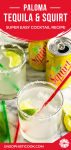 paloma cocktail with tequila in a highball glass pinterest graphic
