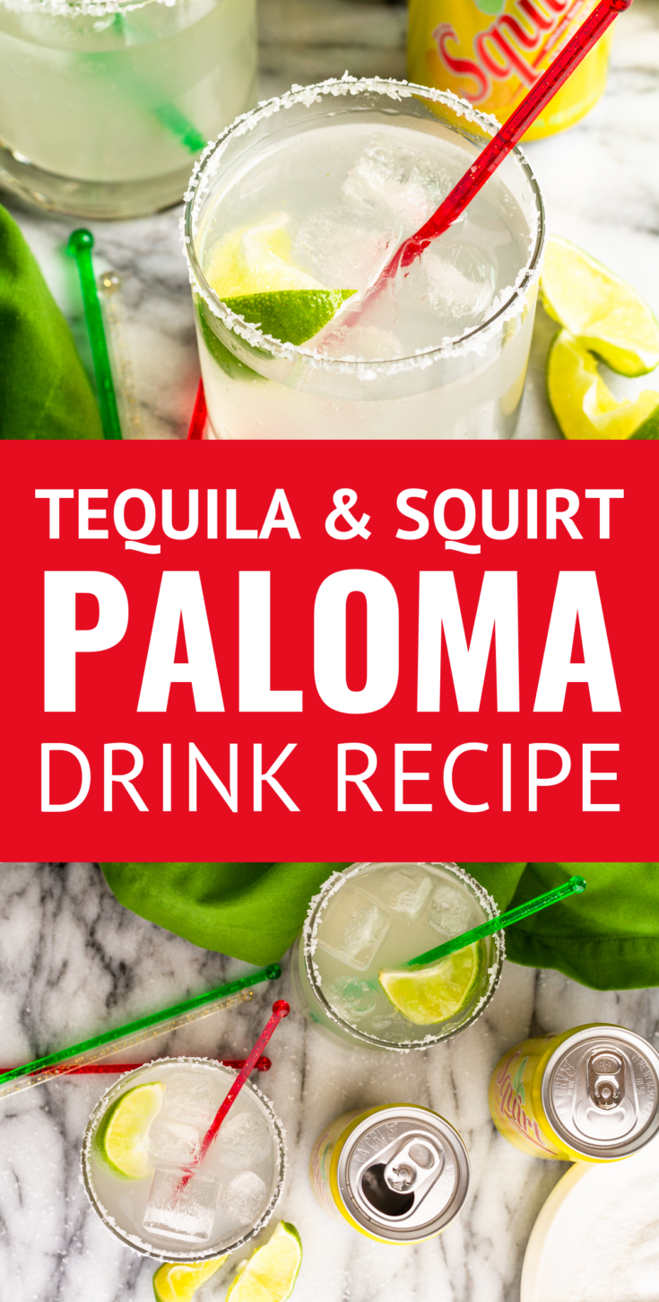 Easy Tequila and Squirt Paloma Cocktail -- This is a simple drink made with Squirt grapefruit soda, tequila, a squeeze of lime juice, and a sprinkle of salt. Sometimes called a poor man's margarita, it's EASY, inexpensive, and delicious! | paloma recipe| paloma cocktail recipes | paloma cocktail tequila | paloma cocktail with squirt | paloma cocktail easy #cocktails #cocktailrecipes #cocktaildrinks #paloma #tequila #tequilacocktails #grapefruit #summerdrinks #cincodemayo #partycocktail