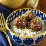 asian maple sausage meatballs served over coconut milk rice