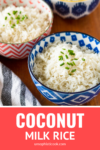 coconut rice recipe in a blue and white serving bowl