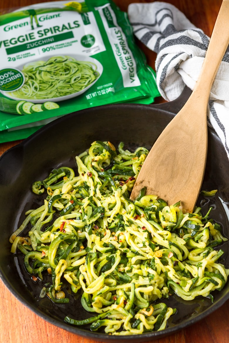 frozen zucchini noodles cooked with garlic and olive oil
