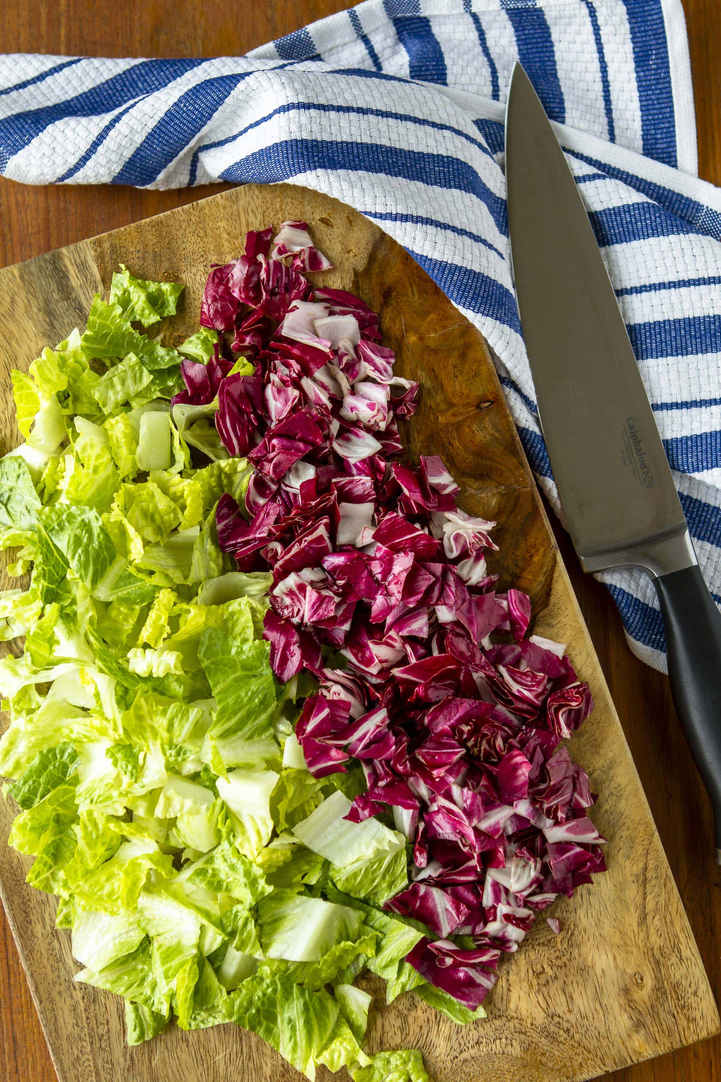 chopped romaine and radicchio for Italian chopped salad