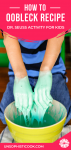 hands squeezing oobleck recipe pinterest graphic