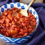a crock pot baked beans recipe with bacon and brown sugar