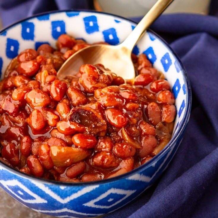 Easy Crock Pot Baked Beans With Bacon & Brown Sugar