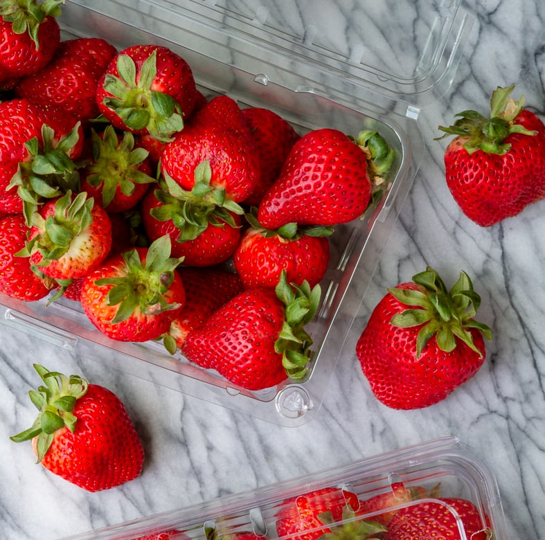 fresh and sweet California strawberries for strawberry shortcake cupcakes