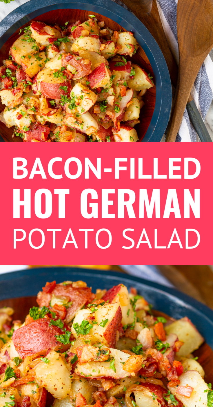 Old-Fashioned Hot German Potato Salad -- this German potato salad recipe makes an ideal summer side dish. Guests will flip for the tangy coarse Dijon apple cider vinegar dressing, along with the crispy fried bacon bits. Serve it hot, warm, or cold at your next cookout! | authentic german potato salad | easy german potato salad | traditional german potato salad #germanpotatosalad #potatosalad #potatorecipes #germanfood #baconrecipes #sidedish #sidedishrecipes #cookoutfood #potatosaladrecipe