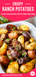 ranch potatoes recipe in a white enamel tray with a black and white towel pinterest graphic