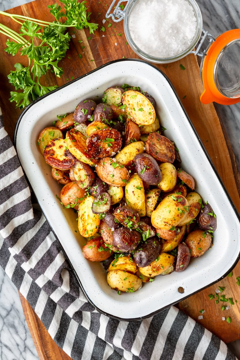 one of my favorite roasted potato recipes made with ranch seasoning and garlic