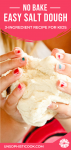 salt dough recipe squeezed between two small hands pinterest graphic