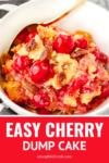 cherry dump cake in a white bowl