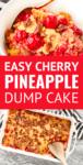 cherry pineapple dump cake in a white bowl
