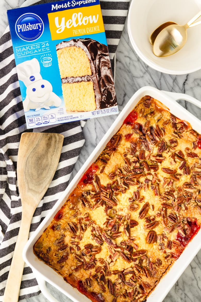 pineapple cherry dump cake made with just 5 ingredients