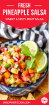 fresh pineapple salsa in a blue and white bowl pinterest graphic