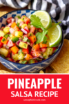 fresh pineapple salsa in a blue and white bowl