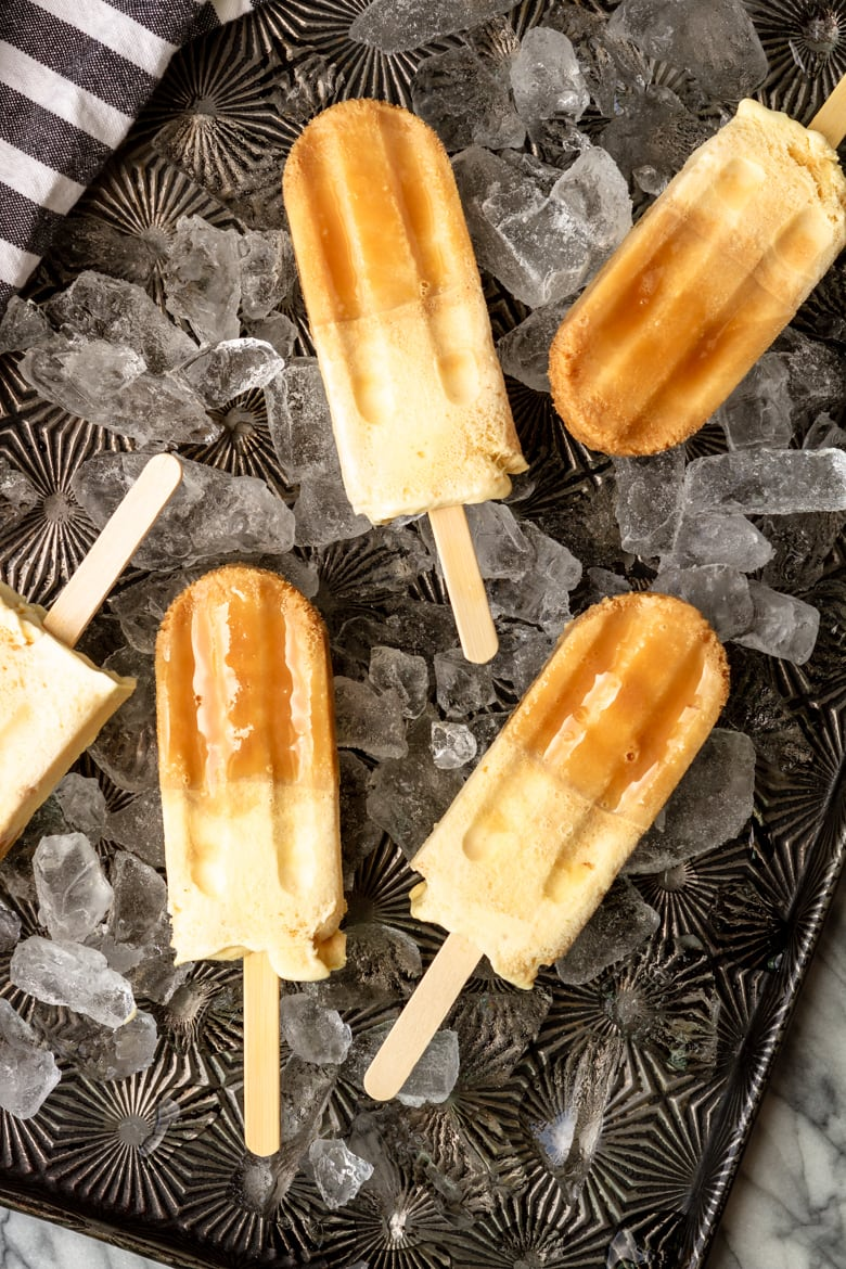 root beer float popsicles made with A&W root beer and vanilla ice cream
