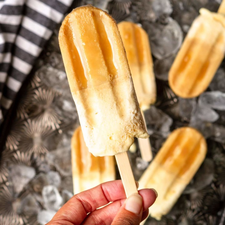 root beer popsicles recipe made with A&W root beer and vanilla ice cream