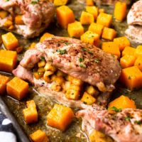 Sheet Pan Apple Stuffed Pork Chops with Butternut Squash