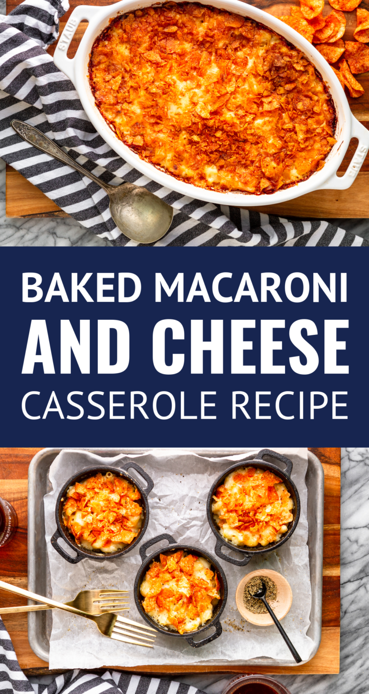 Creamy Baked White Cheddar Macaroni and Cheese Casserole -- this macaroni and cheese casserole is easy homemade macaroni and cheese at its best! Gooey and cheesy with a layer of crushed potato chips on top for texture... | how to make macaroni and cheese | easy macaroni and cheese recipe | easy homemade macaroni and cheese | baked macaroni and cheese recipe | #macandcheese #macandcheeserecipe #macaroniandcheese #casserole #casserolerecipes #easyrecipe