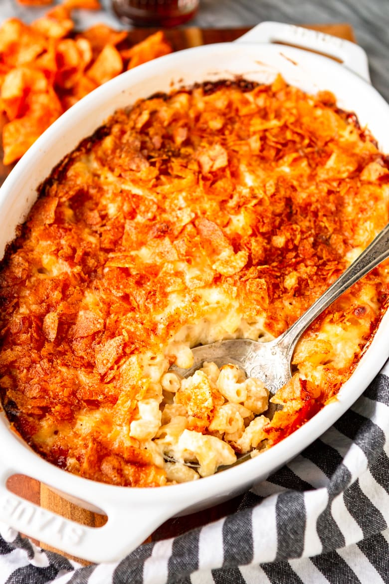macaroni and cheese casserole with crushed potato chips topping
