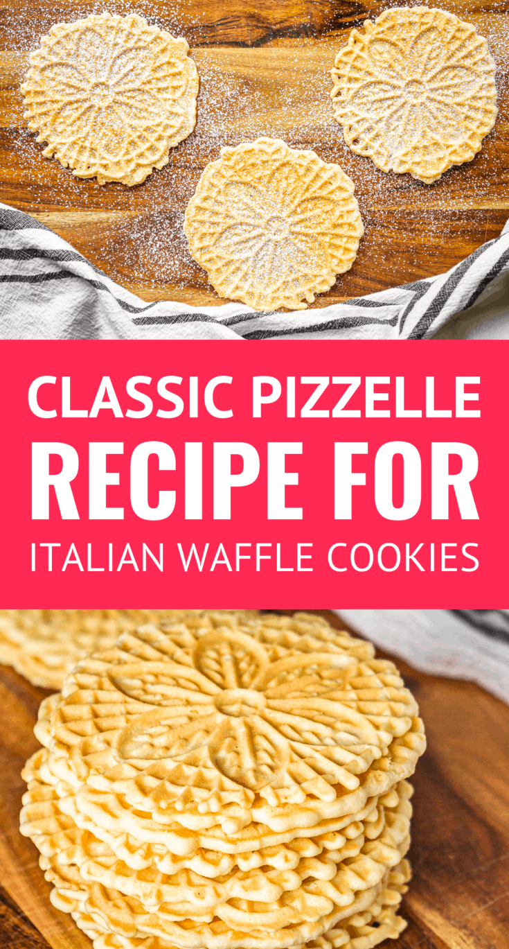 Easy Classic Pizzelle Recipe For Italian Waffle Cookies -- These light and crispy vanilla pizzelle cookies are a Christmas Eve tradition in our home! Includes tips for how to make pizzelles + variations for making chocolate, almond, lemon, and traditional anise pizzelles... | pizzelle cookie recipe | easy pizzelle recipe | pizzelle recipe holiday | pizzelle recipe ideas | pizzle cookies | pizzele | pizzeles #pizzelle #cookies #cookierecipes #christmascookies #christmas