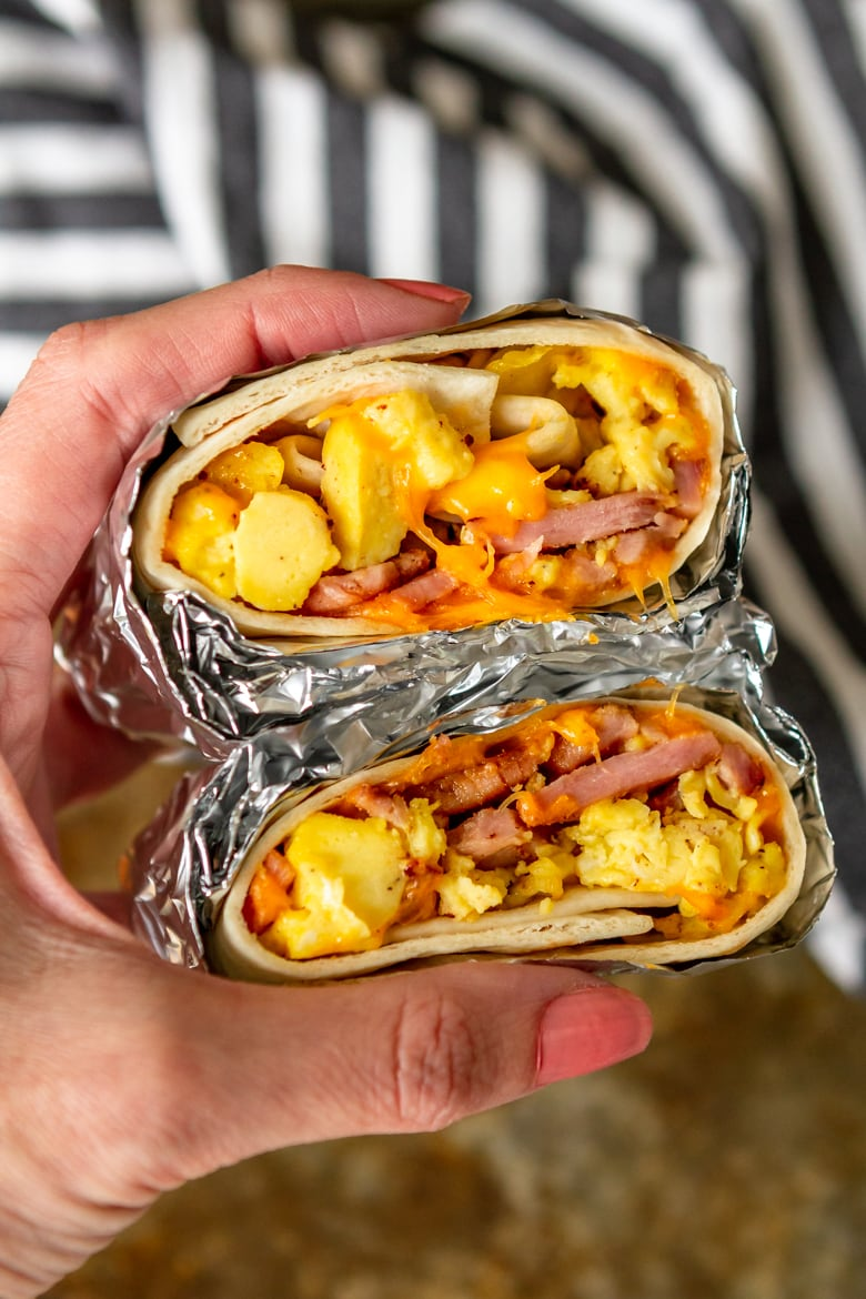 easy breakfast burrito recipe made with ham eggs and cheese