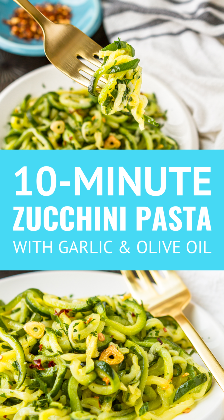 10-Minute Zucchini Noodles Recipe -- Want to learn how to make zucchini pasta with just 3 ingredients? Start with a bag of frozen zucchini noodles, and you can have this easy zucchini noodles recipe on your table in under 10 minutes! Low carb, gluten-free & Whole30 compliant. | how long to cook zucchini noodles | whole30 zucchini noodles | low carb zucchini noodles | best way to cook zucchini noodles #zucchininoodles #zucchininoodlerecipe #easyrecipe #whole30recipes