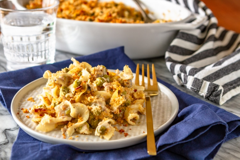 easy classic tuna casserole with peas