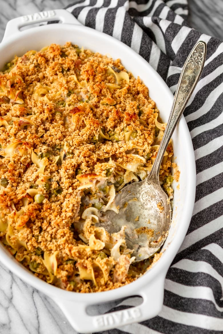 easy tuna noodle casserole with a silver serving spoon