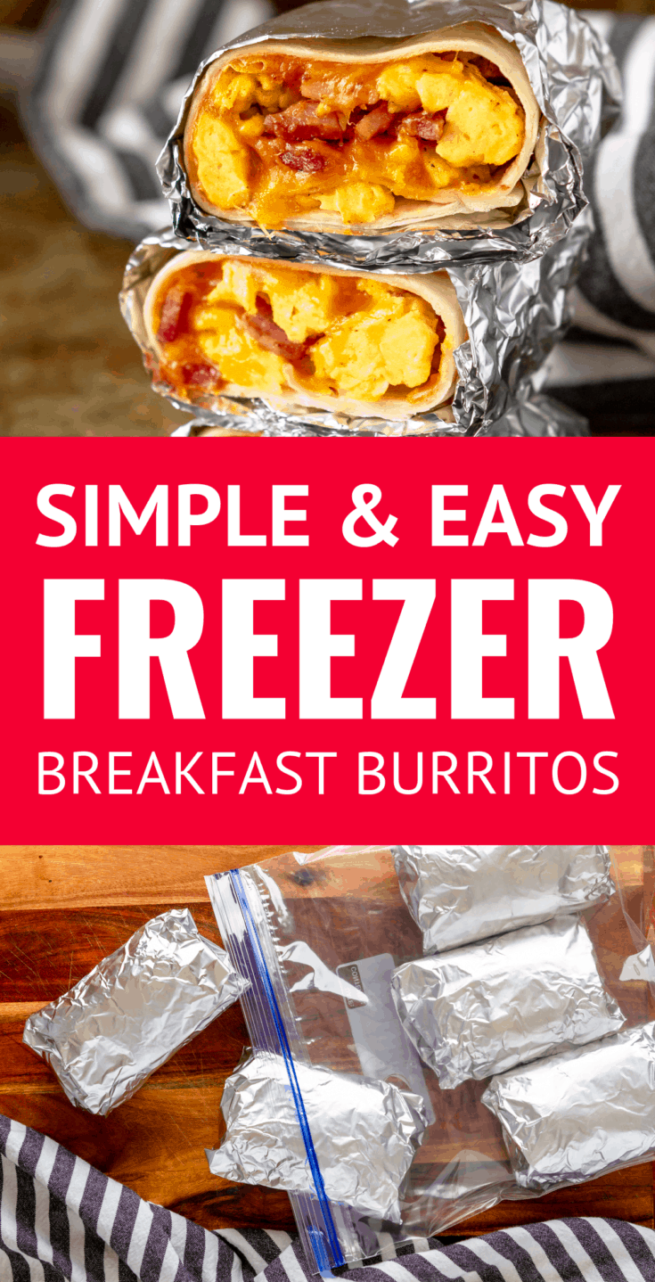 Easy Freezer Breakfast Burritos -- skipping breakfast will be a thing of the past with these simple and easy ham, egg & cheese frozen breakfast burritos. Make ahead breakfast burritos are the perfect way to meal prep breakfasts for the week! | how to make breakfast burritos | easy breakfast burrito recipe | easy breakfast burritos #breakfastburritos #freezerbreakfastburritos #makeaheadbreakfast #mealprep #breakfastrecipes #makeahead #makeaheadmeals #freezermeals #freezerfriendly #freezercooking